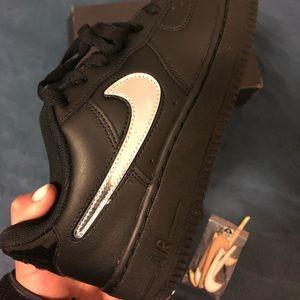Black Nike Air Force Ones w/ Velcro Swoosh…